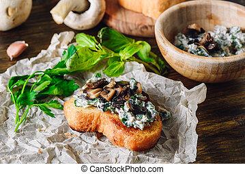 Bruschetta with Agaricus Sauce with Fresh Greens