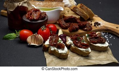 bruschetta with Canned Sundried or dried tomato halves on...