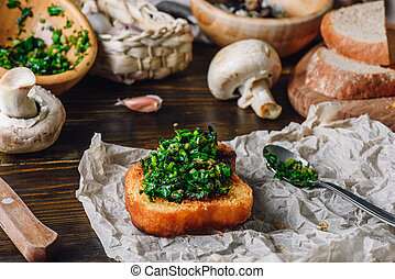 Bruschetta with Fresh Italian Herbs Mix and Some Ingredients...