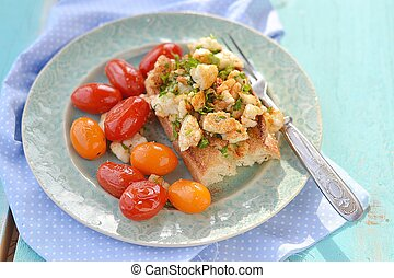 herby tofu scramble - bruschetta with herby tofu scramble, ...