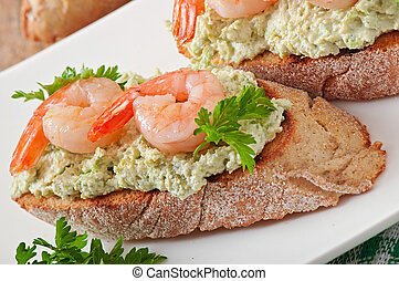 Bruschetta with shrimps - Bruschetta with a paste of green...
