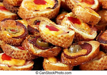 bruschette close up food background