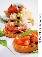 bruschette, traditionelle, italiensk, appetitvækkeren, mad