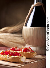 Bruschette with Wine Flask