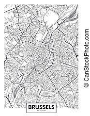 bruselas, vector, ciudad, detallado, mapa, cartel
