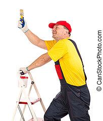 brush., échelle, ouvrier