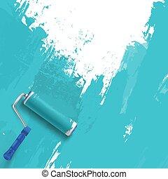 brush., ローラー, 絵, wall., 背景, 青