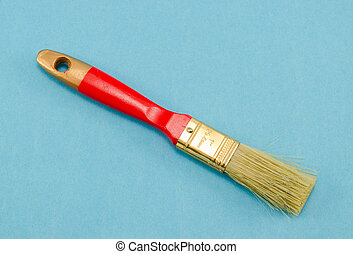 """brush 25mm 1"""" wide red shaft handle paint blue"""