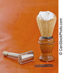 Brush and razor - Elegant old brush with wooden handle for ...