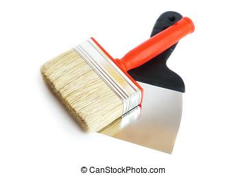 Brush and spatula, white background