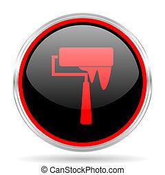 brush black and red metallic modern web design glossy circle icon