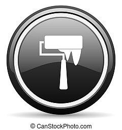 brush black circle glossy web icon