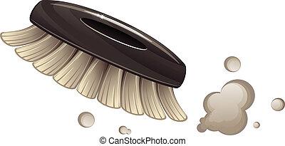 Brush cleaning dust. Vector illustration over white background.