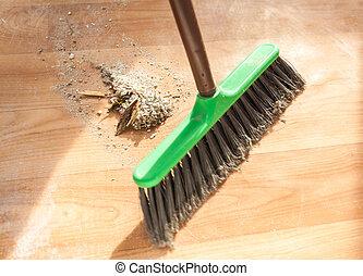 brush cleaning garbage - Image of brush cleaning garbage