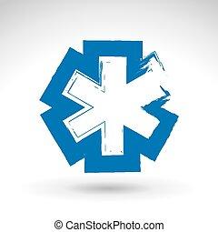 Brush drawing ambulance symbol