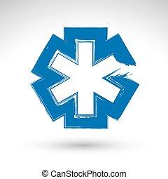 Brush drawing simple blue ambulance symbol, medicine icon,...