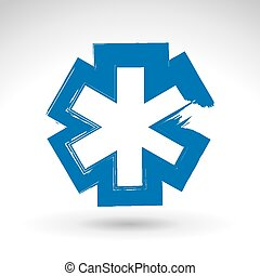 Brush drawing simple blue ambulance