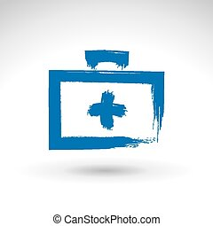 Brush drawing simple blue first aid