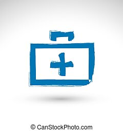 Brush drawing simple blue first aid kit, medicine icon, created