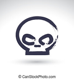 Brush drawing simple human skull, painted medicine icon, created