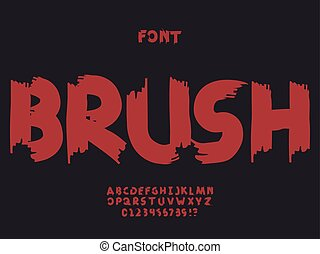 Brush font. Vector alphabet letters and numbers. Typeface...