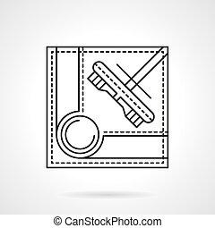 Brush for billiards flat line vector icon