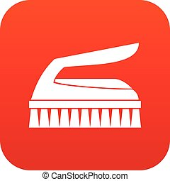 Brush for cleaning icon digital red for any design isolated...