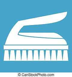 Brush for cleaning icon white isolated on blue background...