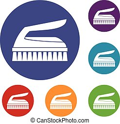 Brush for cleaning icons set in flat circle reb, blue and...