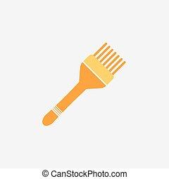 Simple flat design hair dye brush icon vector illustration.