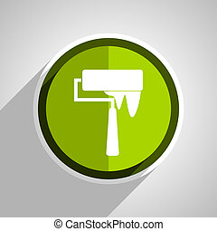 brush icon, green circle flat design internet button, web and mobile app illustration