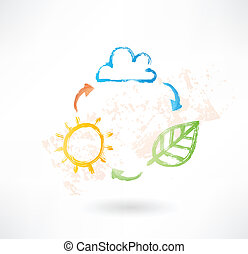 Brush icon with cloud, sun and leaf. Environment.