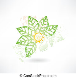 Brush icon with green leafs around