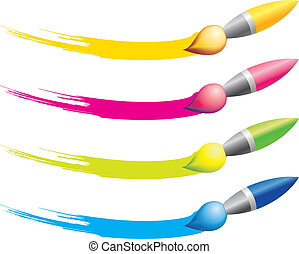 Brush icons  - Different colours brushes for design