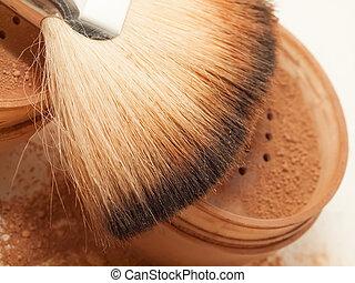 brush., macro, poeder, gezicht