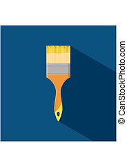 Brush paint tool icon isolated on blue background with shadow in flat style. Vector illustration