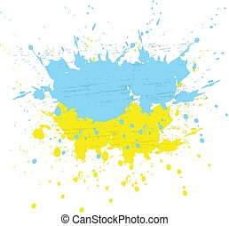 Brush painted abstract flag of Ukraine. Hand drawn style illustration with a grunge effect, ink and splashes on white background, Vector.