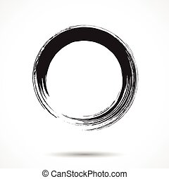 Brush painted black ink circle on white background