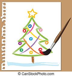 Brush painted Christmas tree