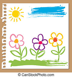 Brush painted flowers