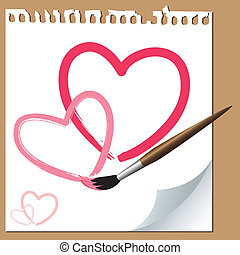 Brush painted hearts on paper