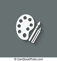 brush palette pencil art symbol