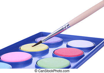Brush powder color palette tray on white background.