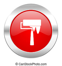 brush red circle chrome web icon isolated
