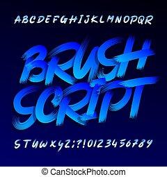 Brush script alphabet font. Uppercase grunge letters.