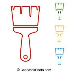Brush. Set of line icons
