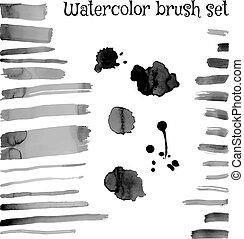 Brush set, watercolor stroke