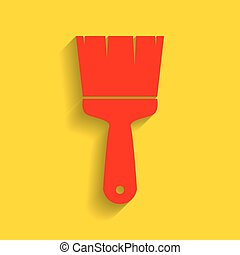 Brush sign illustration. Vector. Red icon with soft shadow on golden background.