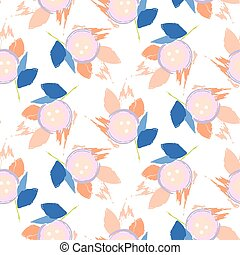Brush stroke flowers pink and blue floral feminine pattern seamless vector.