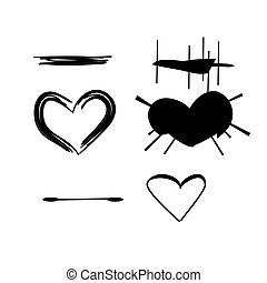 brush stroke hearts set, vol. 3